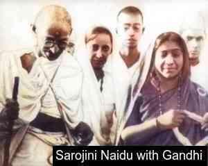 Sarojini Naidu with Mahatma Gandhi
